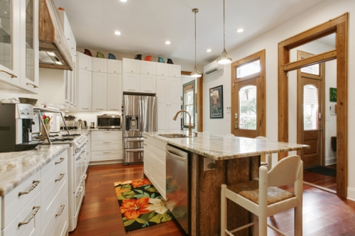 Kitchen in St. Roch cottage renovation and addition