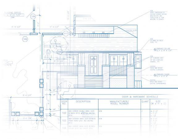 Collage of architectural plans and schedules, a sample of architectural services