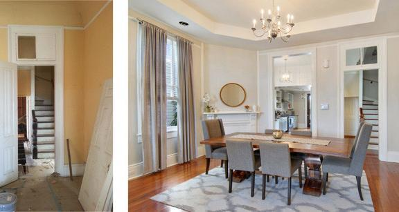 Before and after, interior historic rehabilatation utilizing historic tax credits