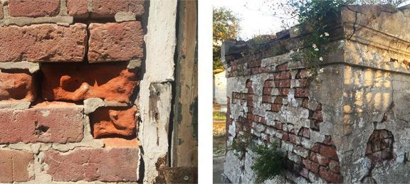 New Orleans brick structures showing weathering