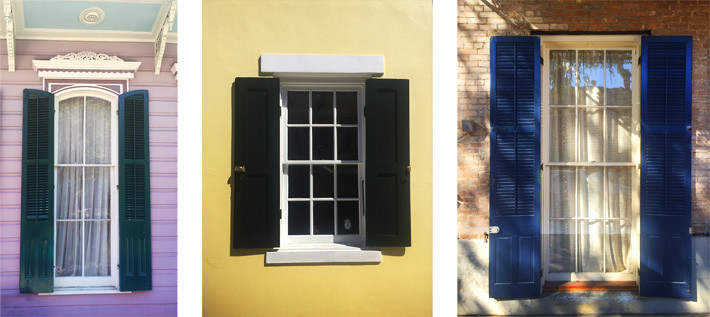 Collage of historic wood windows in New Orleans