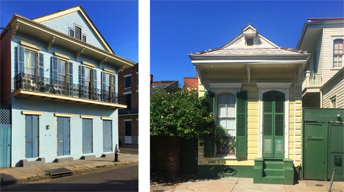 Roof overhangs and balconies in the French Quarter, New Orleans