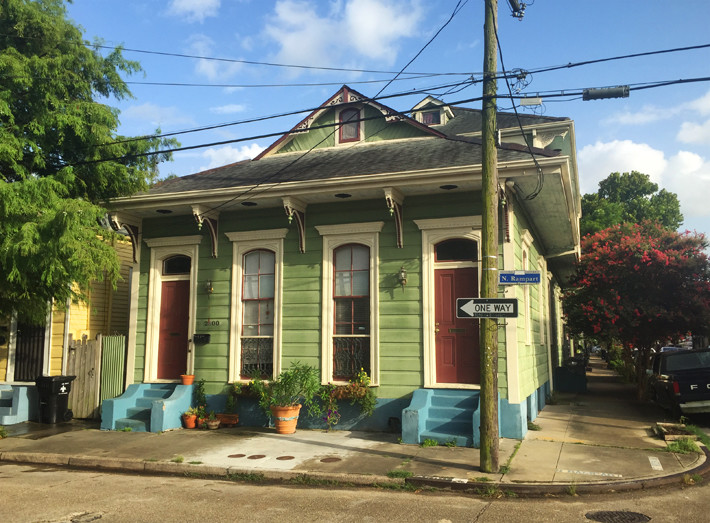 Roof overhangs and stoops are common encroachments in the Marigny, New Orleans